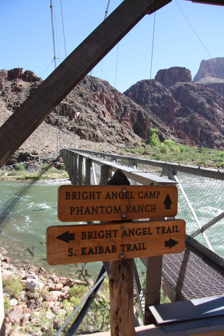Routemarkering op de South Kaibab to Bright Angel trail